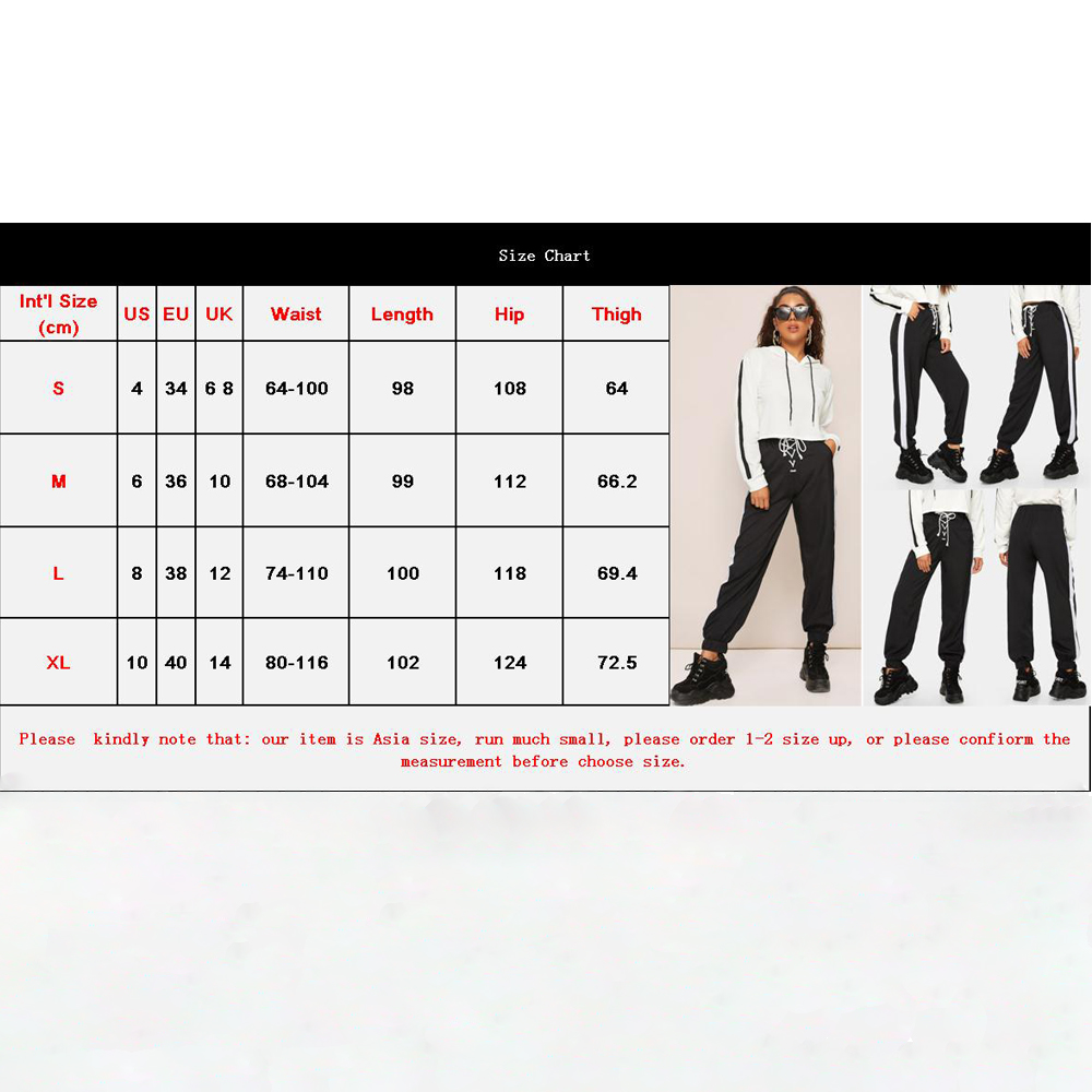 Women Autumn Sports Ankle banded Pants Sidestripe High Waist  Loose Fitness Leggings Running  Scrunch Trousers