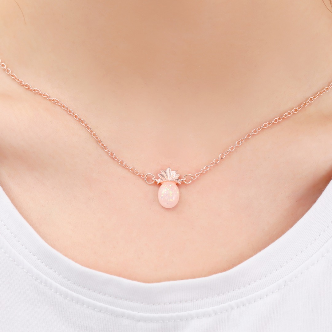 Cute Tiny Pineapple Fruit Opal Stone Pendant Chain Necklace Rose Gold Short Chain Necklace For Women Jewelry Personalized Gift