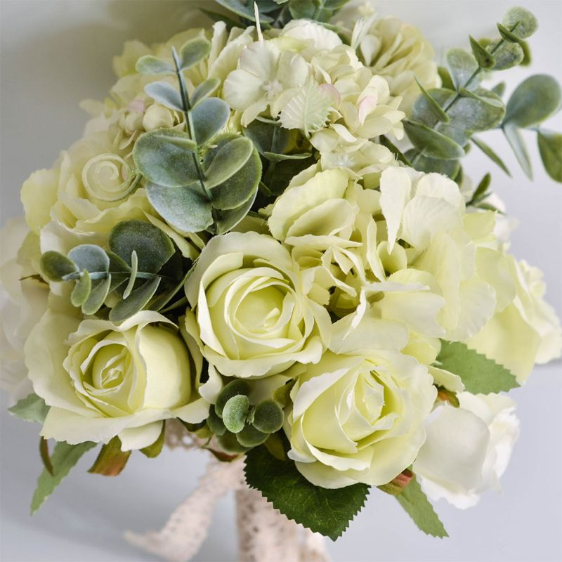 Wedding Bridal Bouquet Handmade Artificial Rose Eucalyptus Leaves Bridesmaid Holding Flowers for Party Home Table Decor