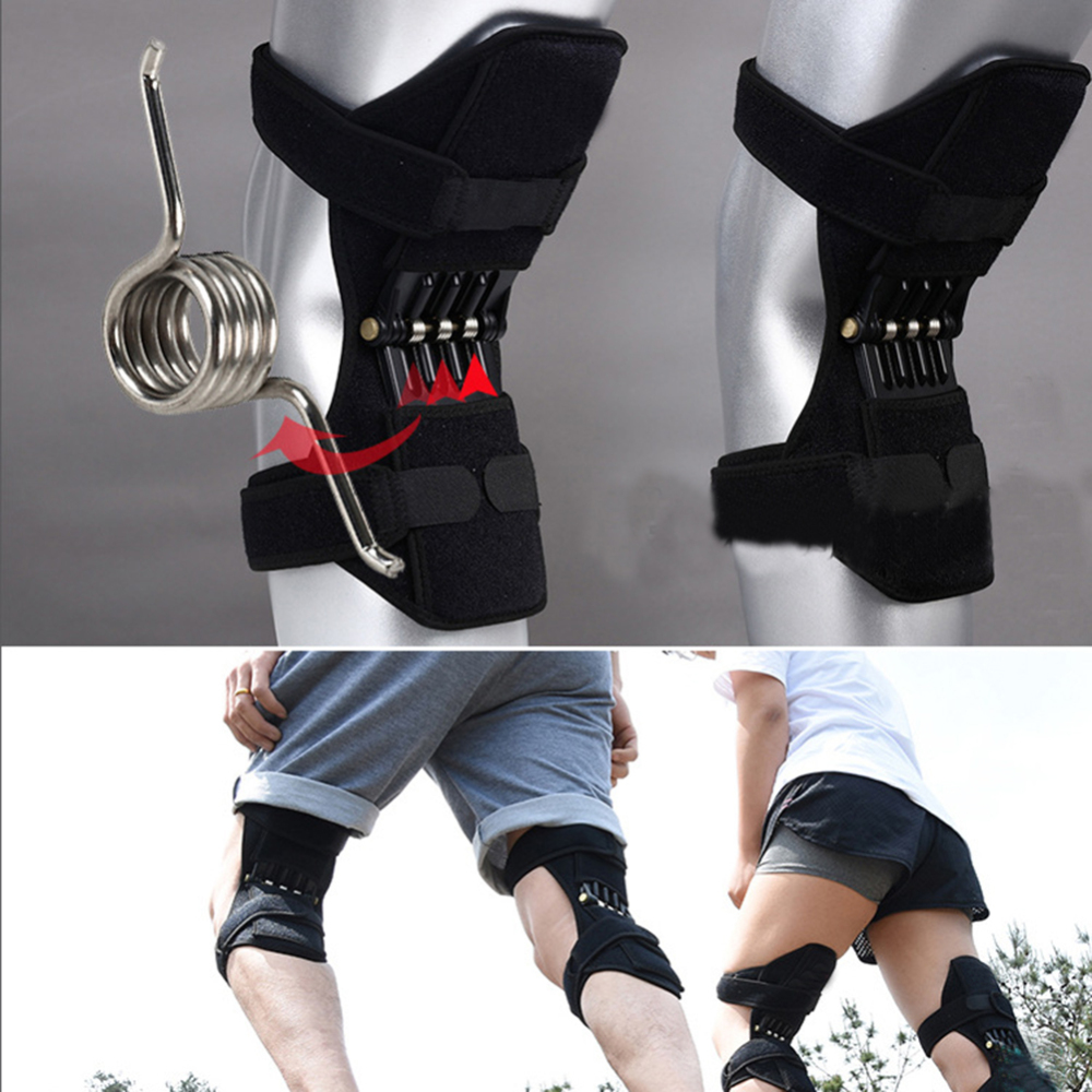 1pair Strap Non-Slip Power Knee Stabilizer Pads Lift Spring Force Knee  Tendon Brace Joint Support Knee Pads Knee Patella