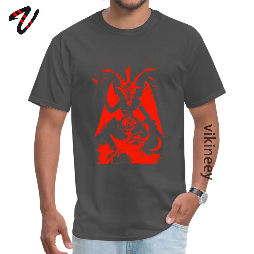 Red Baphomet Casual Father Day 100% Cotton Fabric Round Neck Men's Tops & Tees Tops & Tees 2019 Short Sleeve T Shirts Red Baphomet 9795 carbon