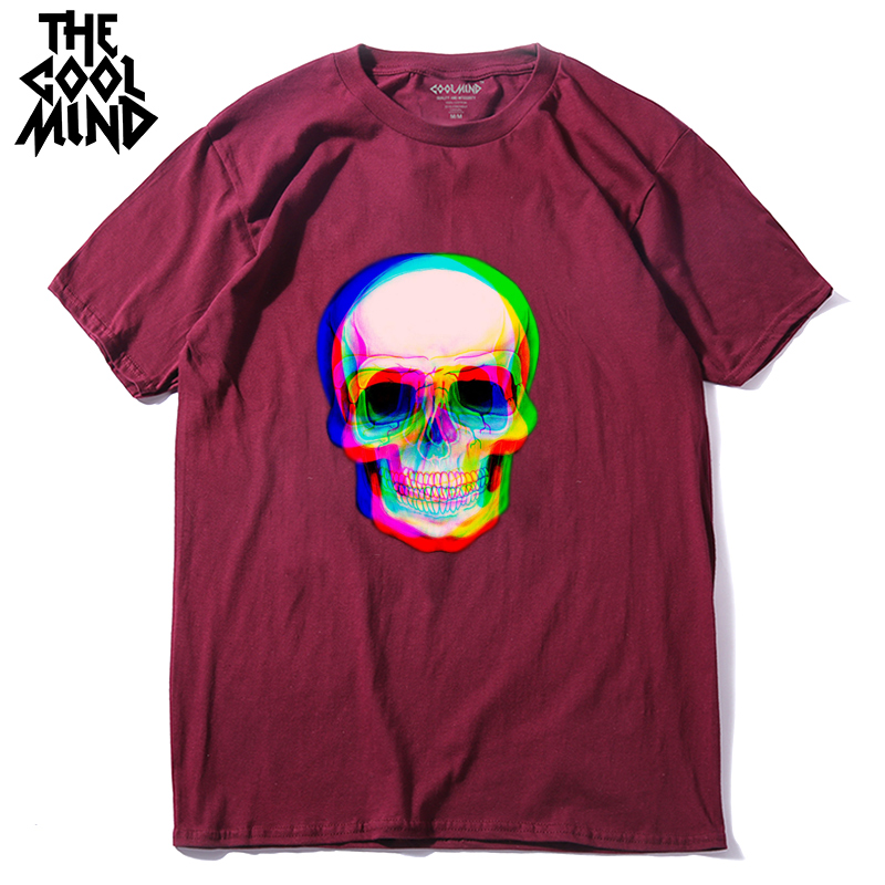 COOLMIND 100% cotton short sleeve summer skull print men T shirt casual cool loose mens tshirt male t-shirt tee shirts