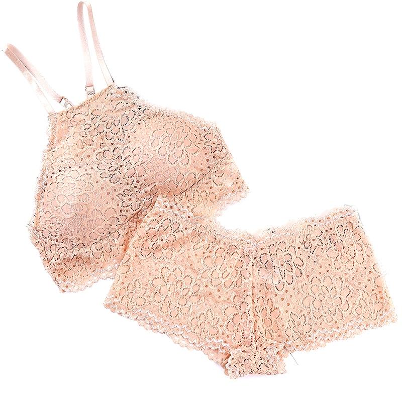 Fashion Women Wire Free Bar Set Underwear Brassiere Lingerie Sexy Lace Bra Set Brief Bra 4 Colors