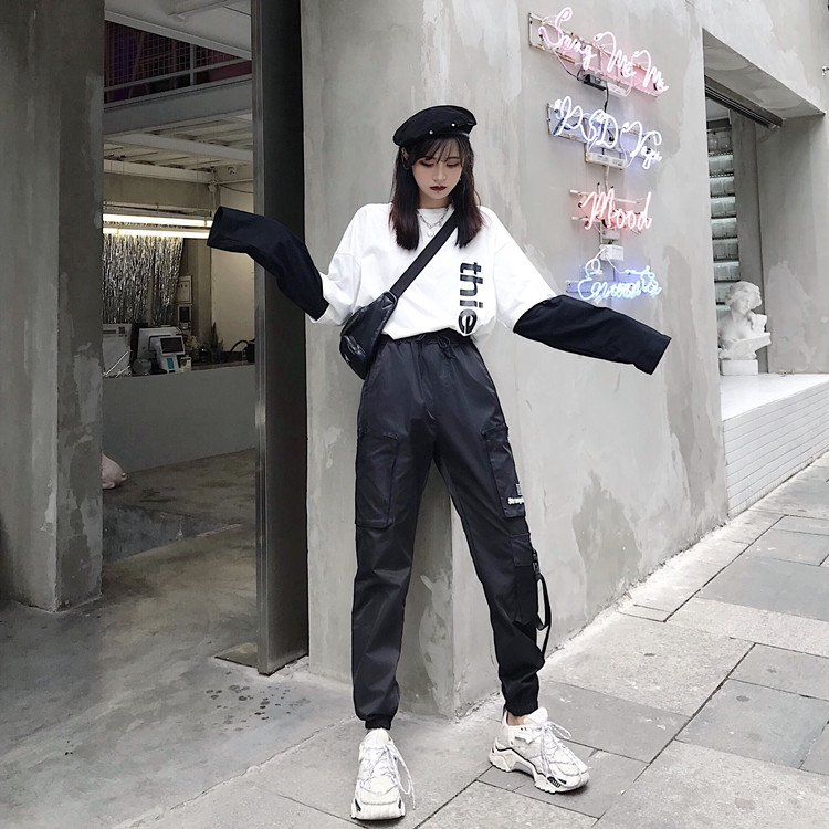 Hot Big Pockets Cargo pants women High Waist Loose Streetwear pants Baggy Tactical Trouser hip hop high quality joggers pants 38