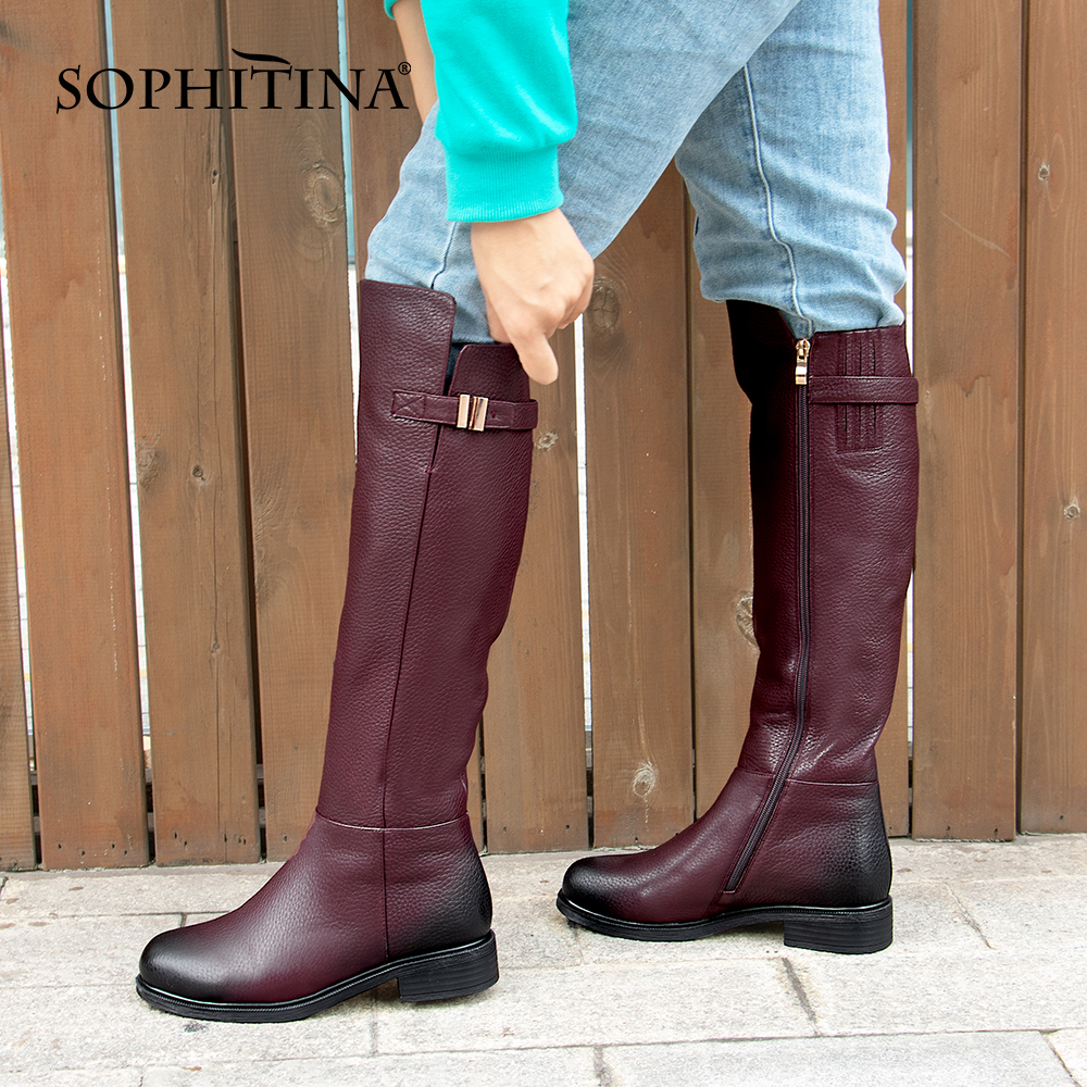 SOPHITINA Special Design Boots Knee-High Warm Round Toe Genuine Leather Comfortable Square Heel Shoes Wool Women's Boots PC398
