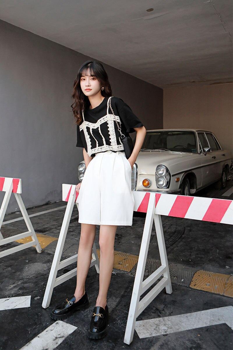 He22a57ada3f648c59ea13065a122e069k - Summer Korean High Waist Loose White Shorts