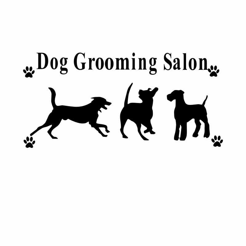 DCTAL Pet Shop Vinyl Wall Decal Dog Grooming Salon Sign Mural Art Wall Sticker Pet Salon Pet Shop Window Glass Room Decoration