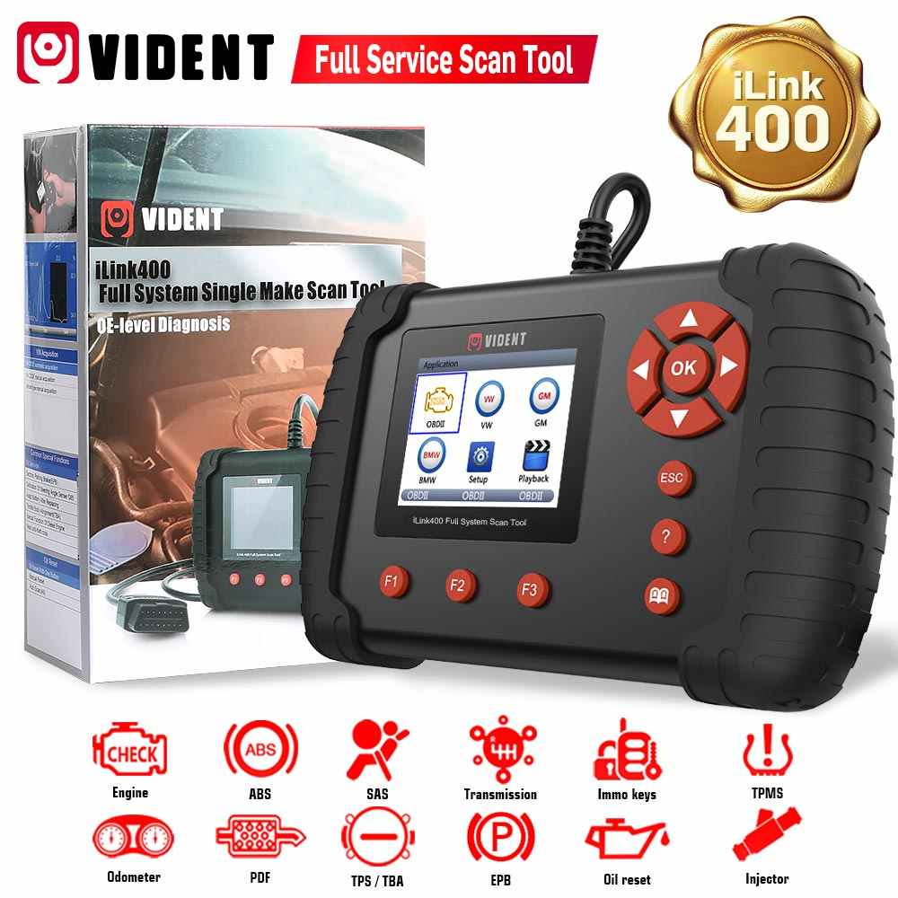 VIDENT OBDII Scan Tool Code Reader iAuto700 Professional Diagnostic Scan Tool for Engine ABS SRS Transmission Diagnoses OBD2 Car Scanner with Oil Reset EPB Service Battery Configuration