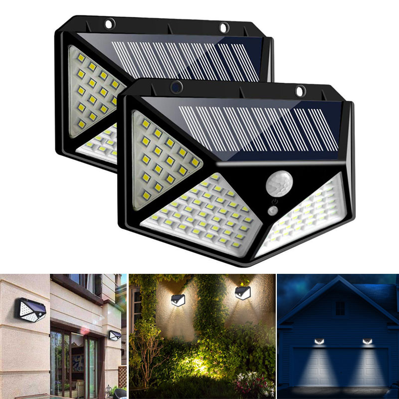 1/2/4Pcs Solar Power Light 100 LED Solar Wall Lamp with PIR Motion Sensor Waterproof Solar Lamp for Outdoor Garden Street Lights