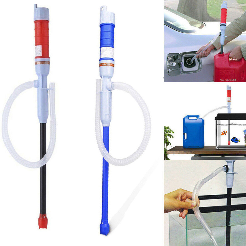 Red Universal Electric Battery Powered Pump Car Fuel Gas Transfer Pump Outdoor Portable Car Siphon Pipe Outdoor Car Auto Vehicle