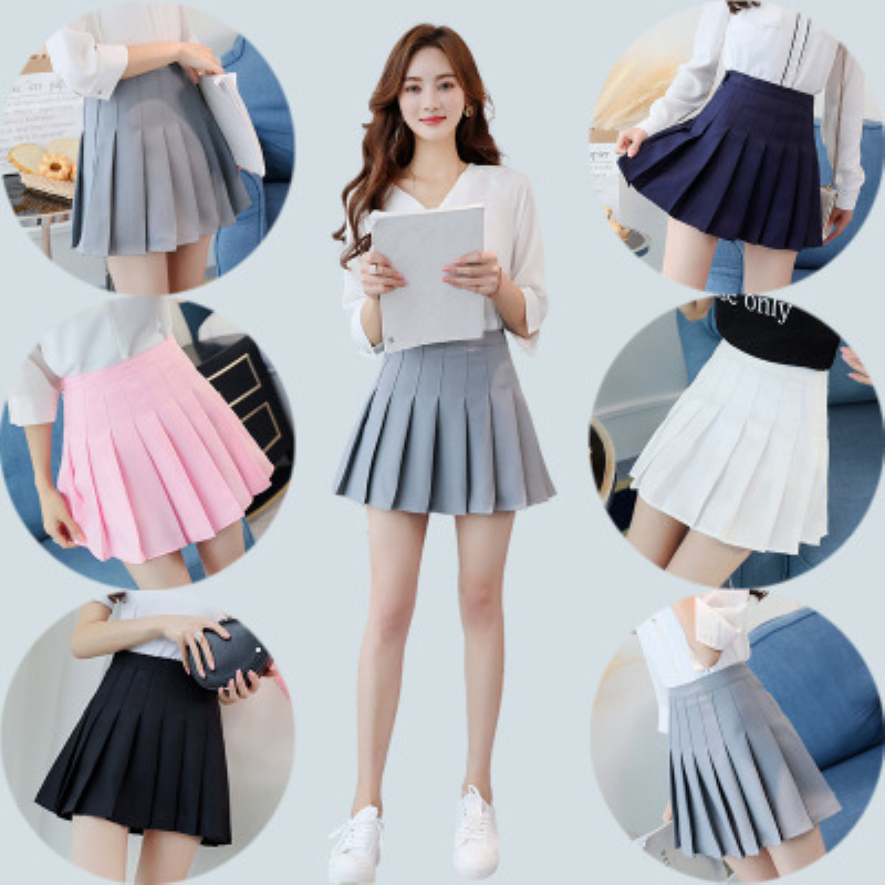 Women Short High Waist Pleated Skater Tennis Skirt School Uniform With Inner Shorts Sports Badminton Run Training Tennis Skirts-2