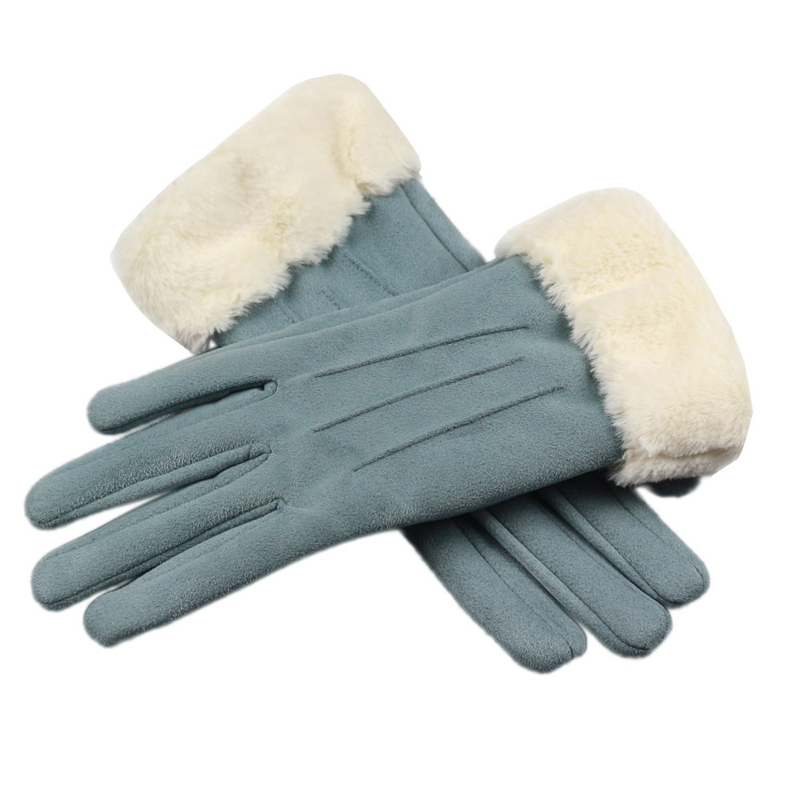 New Winter Suede Gloves Women Touch Screen Leather Glove Female Long Finger Autumn Mittens Fashion Warm Velvet Driving Gloves