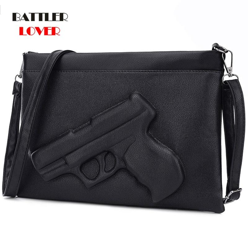 2020 New Women Handbag High Quality Women Clutch Bag 3D Gun Shape Embossed Pistol Bag Designer Envelope Crossbody Bag for girls