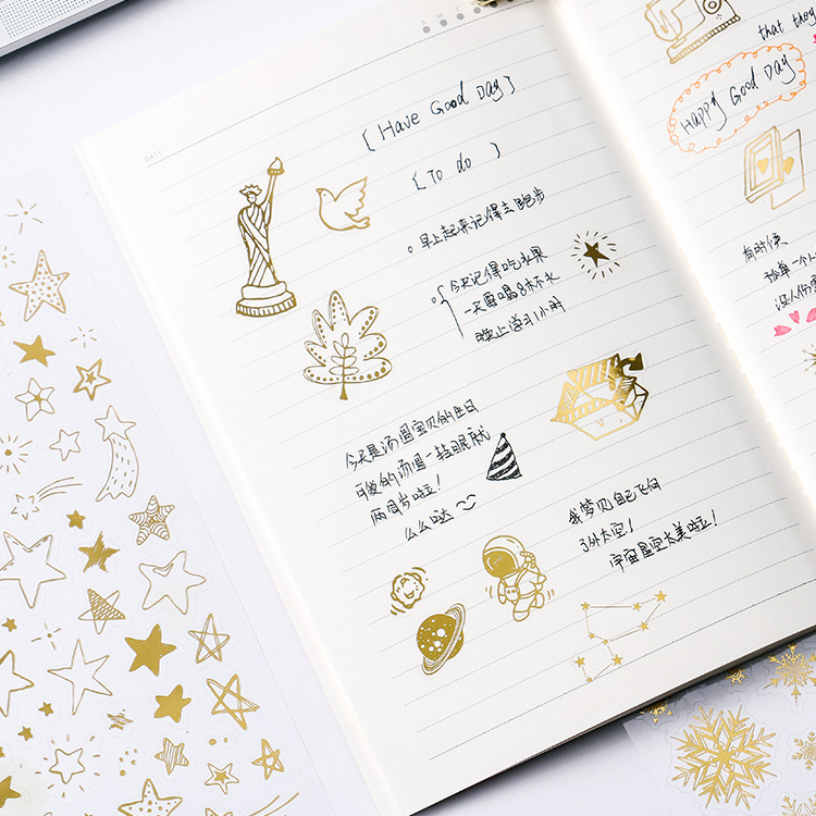 Planet Journal Gold Foil Sticker Decoration Stickers Snow-flake Constellation Alphabet&Number Label Sticker kawaii Stationery