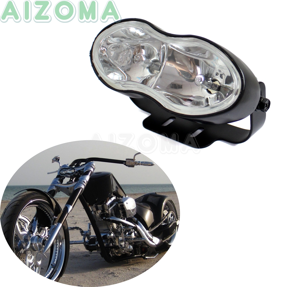 Streetfighter Double Oval Twin Headlight Head Indicator Lamp For Harley Bobbers