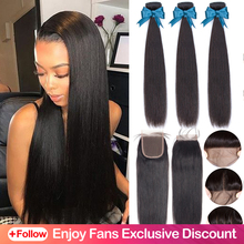 Beaudiva Hair Extension 100% Human Hair Bundles With Closure Brazilian Hair Weave 3 Bundles