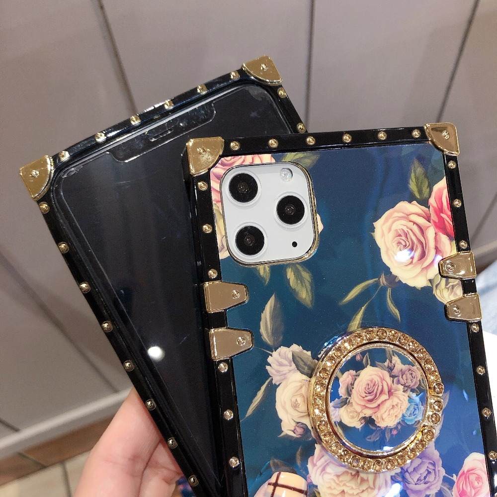 For Samsung Note10 Plus Note9 8 S10 Plus S10e S8 S9 A70 A50 A20 A30 M30 M20 Case Square Diamond Stand Blue Ray Rose Flower Cover (9)
