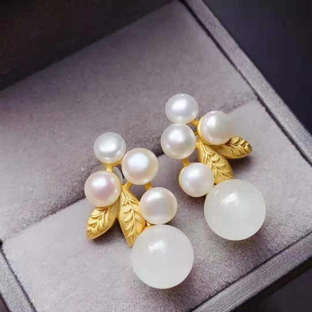 Natural white jade hand-made real S925 pure silver natural pearl earrings simple atmosphere suitable for women