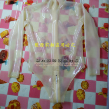 Transparent Latex Outfit Jumpsuit Sexy Women Long-Sleeve Crotch-Zip with Aerobics