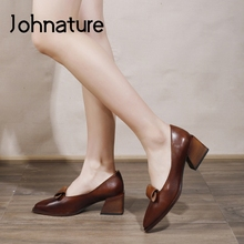 Square Heel Retro Pumps Women Shoes Pointed-Toe Genuine-Leather Casual Slip-On Sewing