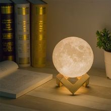 PKR 1,031.46 | moon lamp 3D print night light Rechargeable 3 Color Tap Control lamp lights 16 Colors Change Remote LED moon light gift