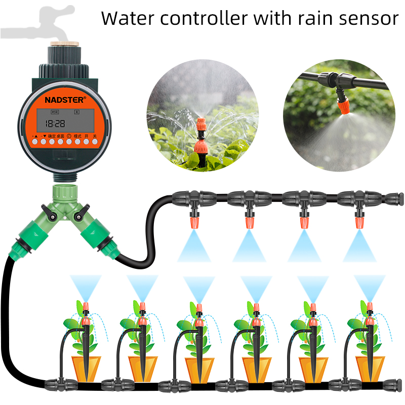 Rain sensor automatic sprinkler, water controller, garden irrigation timer, home garden balcony spray kit title=