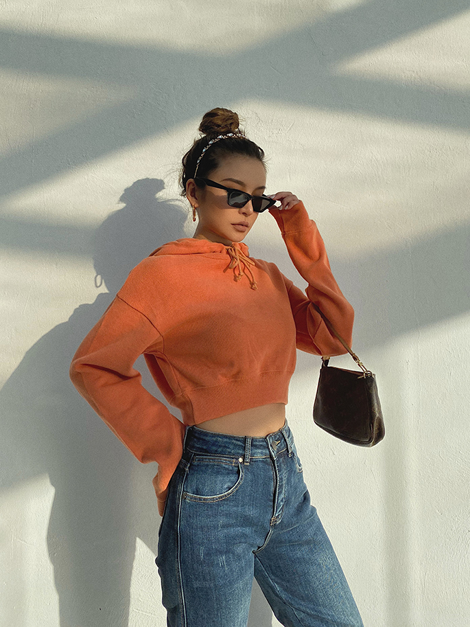 2020 New Autumn  women clothes 5 colors hooded drawstring Streetwear  Solid Loose Basic Pink Sweatshirts Long Sleeve Pullovers
