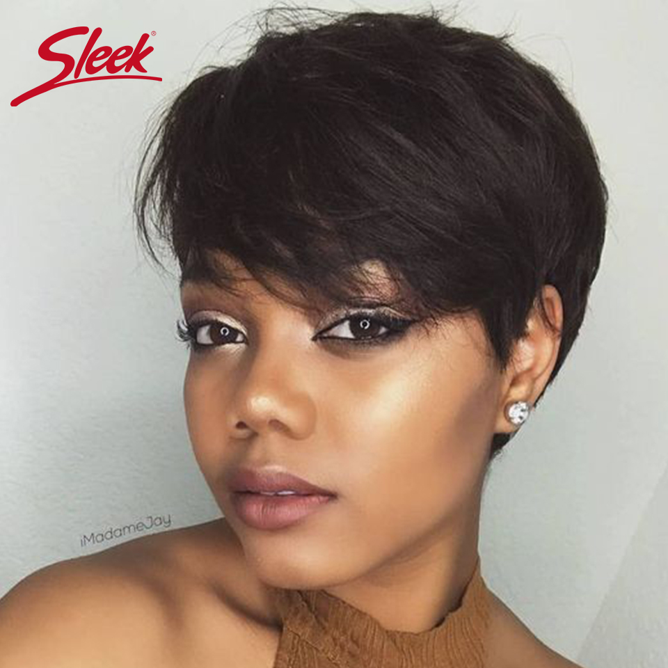Sleek Brazilian Short Human Hair Wig 100% Remy Red Hair Wig For Black Women Brown Full Machine Cheap Wigs Pixie Cut Wig  Fast