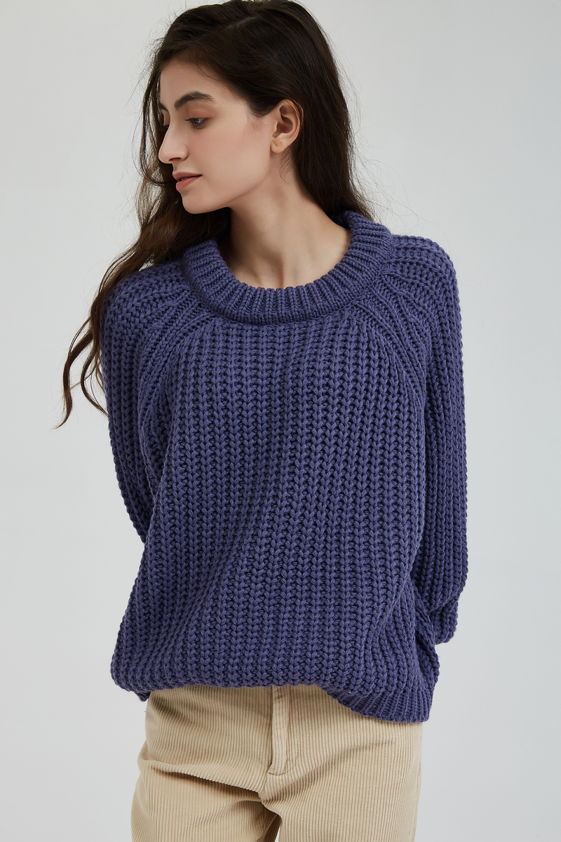 Wixra Knitted Chunky Oversized Sweater Women Loose Solid Thick O-Neck Pullover Jumpers Stylish Tops for Female Autumn Winter 7