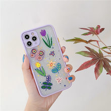 Luxury Flower butterfly Case For iPhone 11 Pro Max X XR XS Max 7 8 Plus cover Matte Floral Bumper cute Transparent soft cases(Китай)