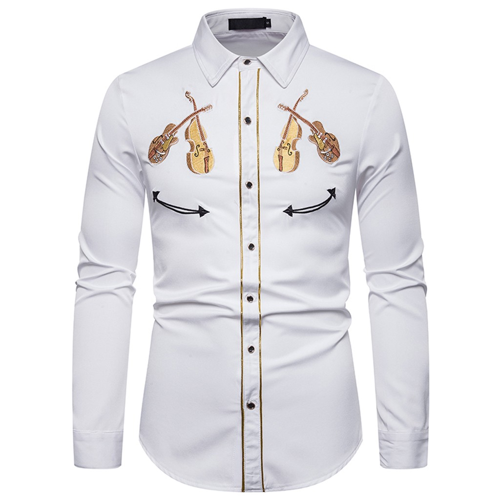 Autumn Men/'s Leisure Fashion Embroidery Printing Lapel Long Sleeve Shirt Top Blouse Winter Style Fashion Work Clothes Leisure