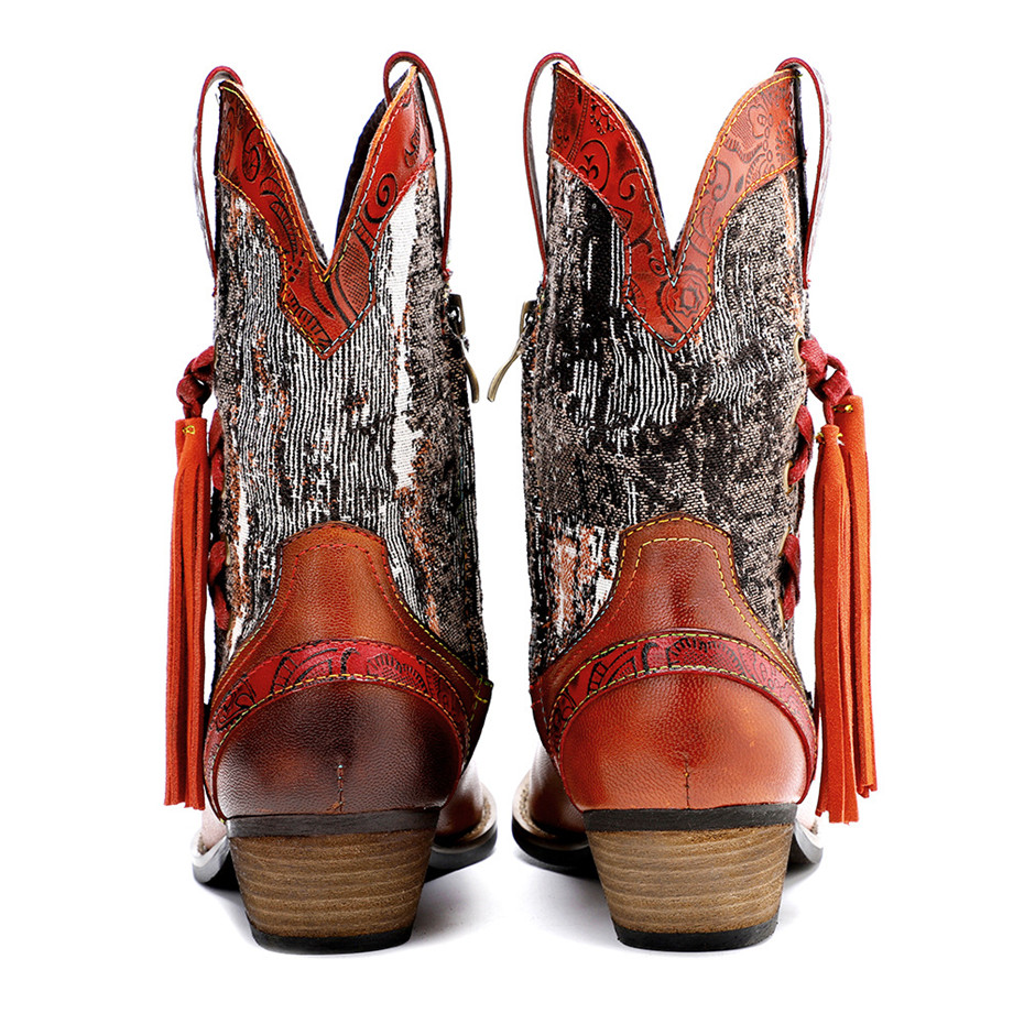 New Genuine Leather Fine Printed Ladies Shoes Ankle Boots Vintage Handmade Chunky Heel Embroidery Western Boots Shoes For Woman  (12)