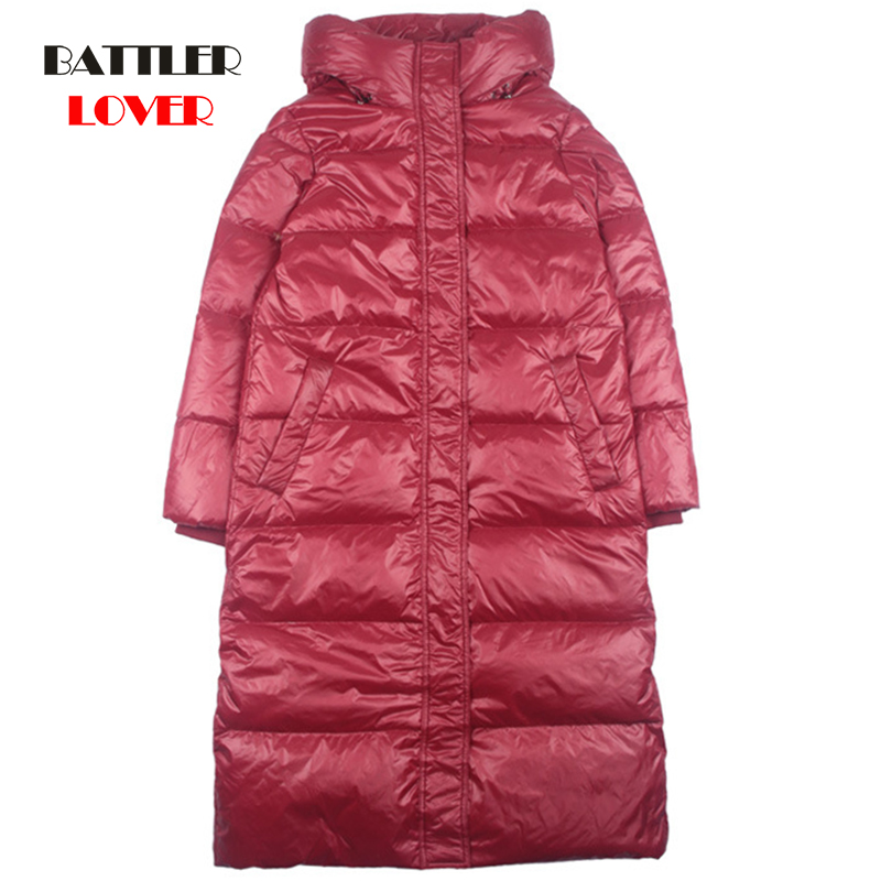 Women Spring Padded Hooded Long Jacket 90% White Duck Down Females Overcoat Ultra Light Slim Solid Jackets Coat Portable Parkas