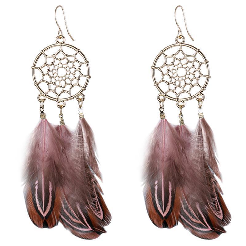 Boucles d'Oreilles Attrape Rêves à Plumes Marron Clair Femmes or capteurs de rêves boheme chic style mode