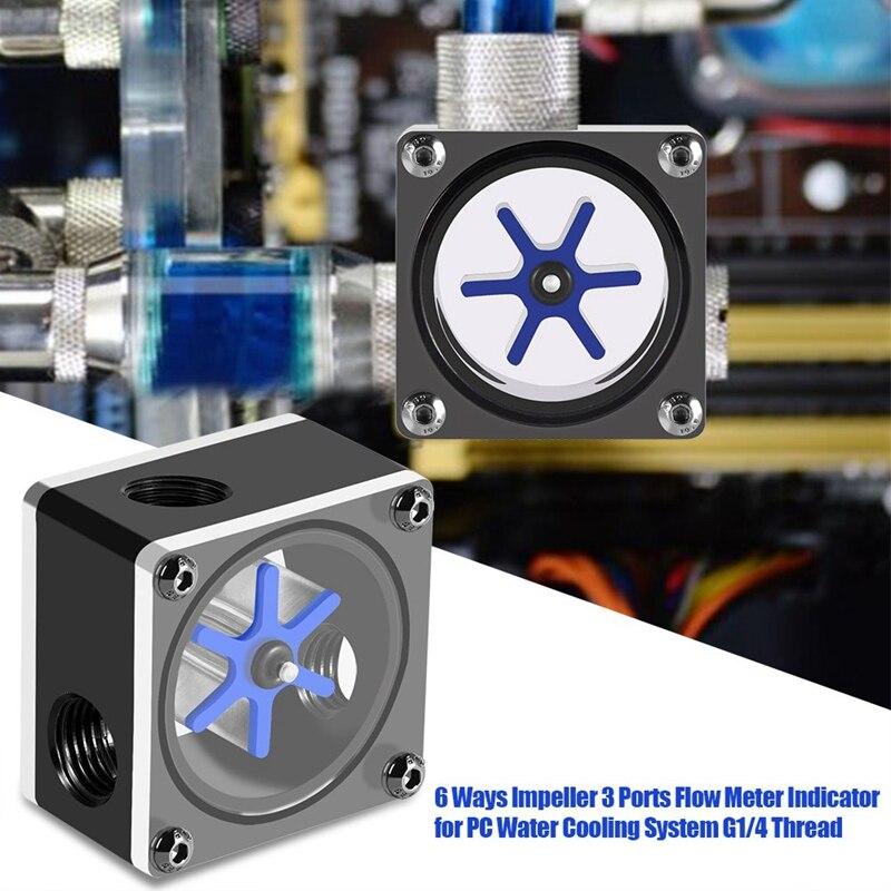 indicador de medidor de flujo de 3 v/ías sistema de refrigeraci/ón por agua indicador de flujo de refrigeraci/ón por agua para PC 6 impulsores rosca G1//4 Medidor de flujo de agua