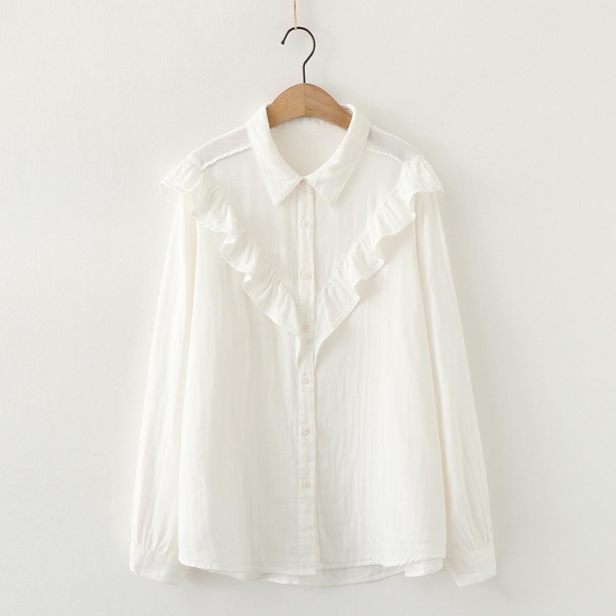 V shape ruffles white cotton yarn long sleeve shirt women blouse