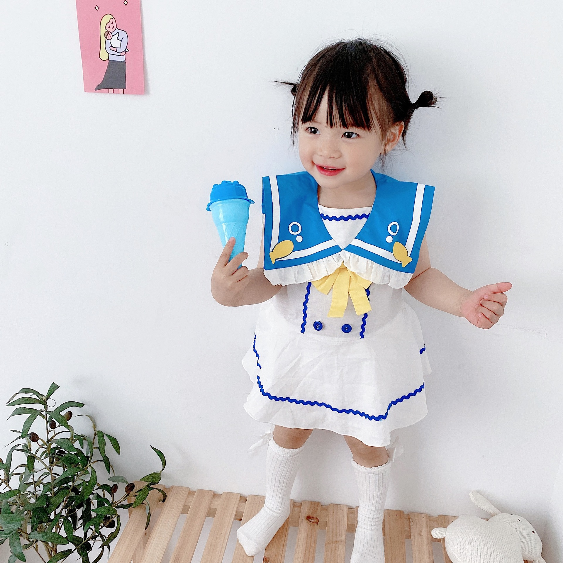 2020 summer baby romper Navy one piece dress girl baby sweet temperament fish tail out suit bow infant clothes