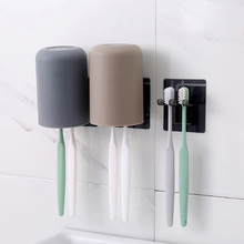 Creative Toothbrush Holder Simple Water Cup Toothbrush Storage Holder Wall Bathroom Brushing Cups Rack