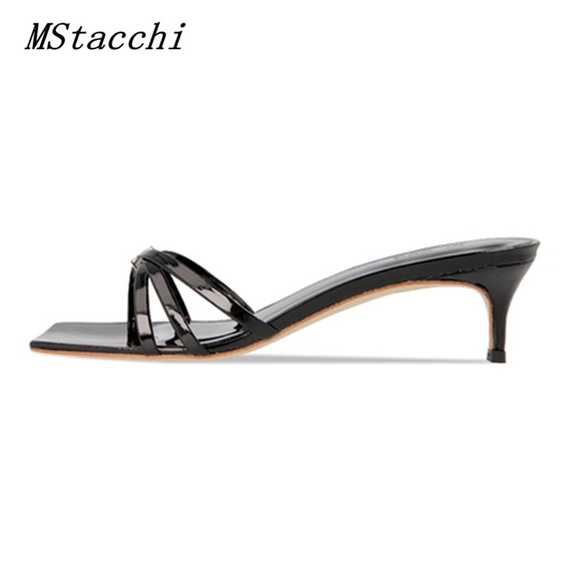 MStacchi Genuine Leather Slippers Women Flip-flops 2020 New Summer Slingback Open-toe Cat-heel Sandals Beach Shoes White Shoes