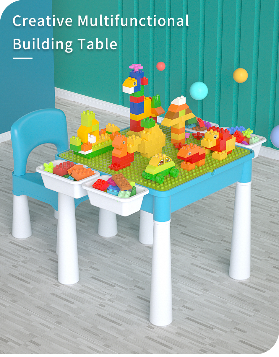 Activity Table Set with Double-sided Desktop and 128 Pcs Building Blocks 1