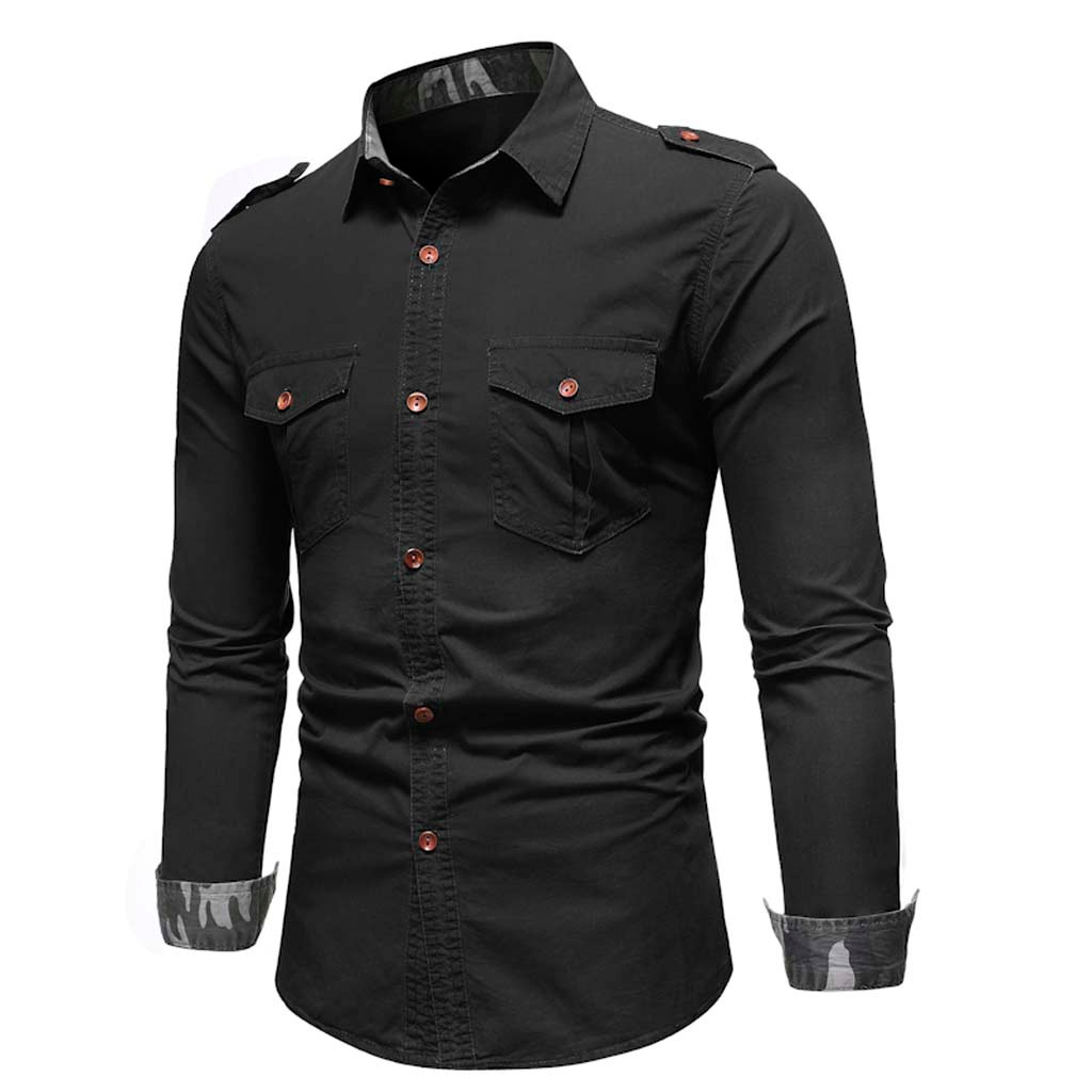 Vogue Men Casual  Panel Button Down Denim Shirt With Pockets Top Blouse Solid Color Long Sleeve Single-breasted  High Quality