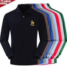 Tops Shirt Polo-Logo 3d-Patch Long-Sleeve Casual Tees High-Quality Cotton Men's New-Arrival