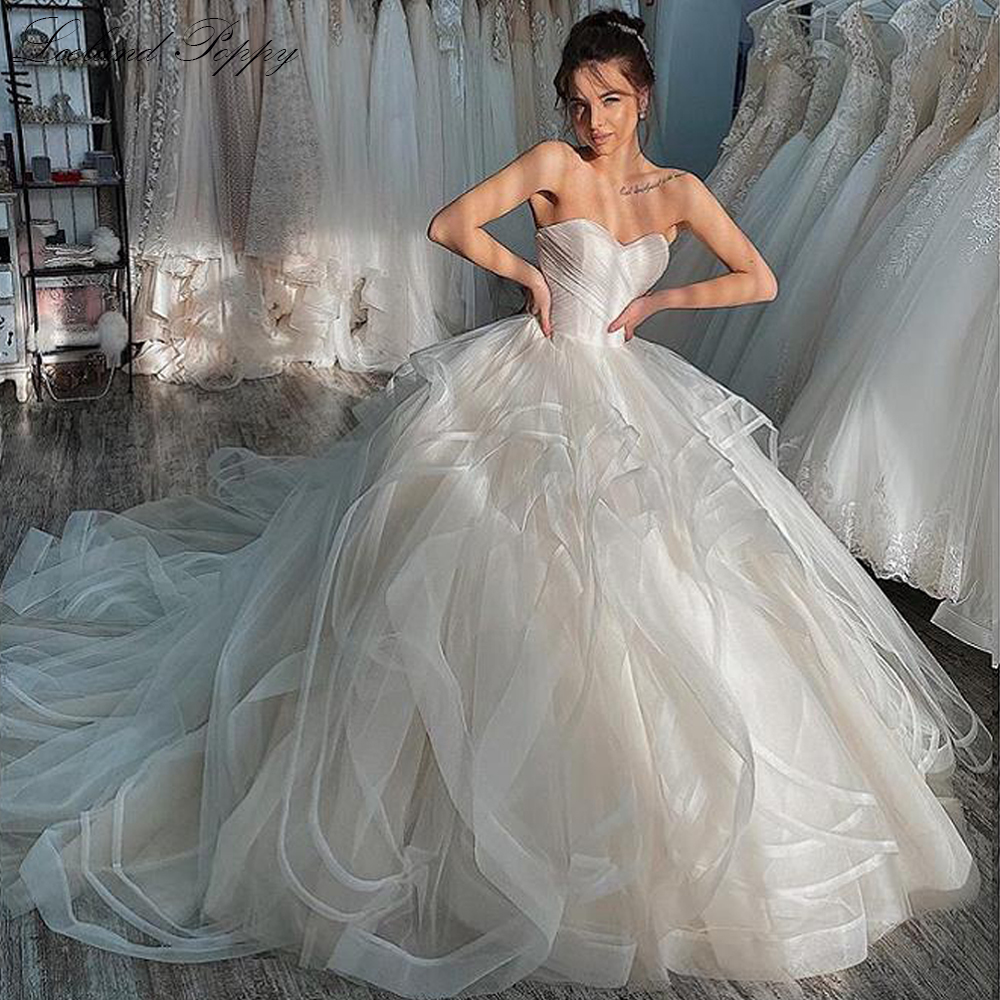 Lceland Poppy Ball Gown Strapless Tulle Wedding Dresses 2020 Sleeveless Pleated Vestido de Novia Bridal Gowns Chapel Train