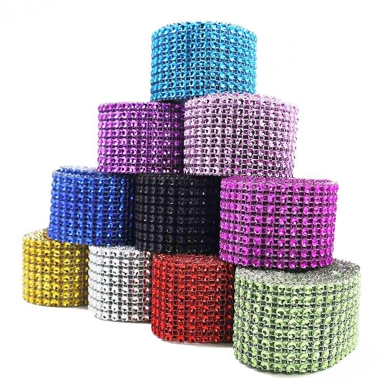 5 Yard 4 Rows Bling Diamond Mesh Wrap Roll Wedding Birthday Party DIY Decorations Table Cake Box Wrap Crystal Ribbon Tulle Roll