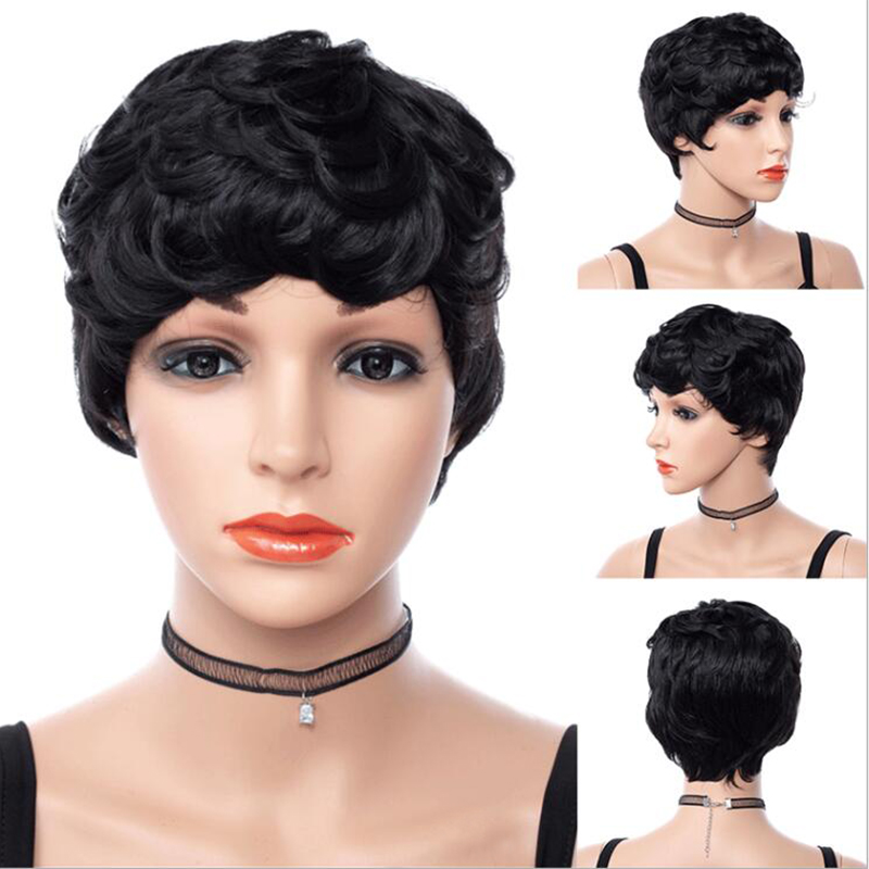 GRES Curly Wigs for Black Women Synthetic Wigs High Temperature Fiber Short Afro Wig  Pelucas De Mujer Pelucas  Good Quality