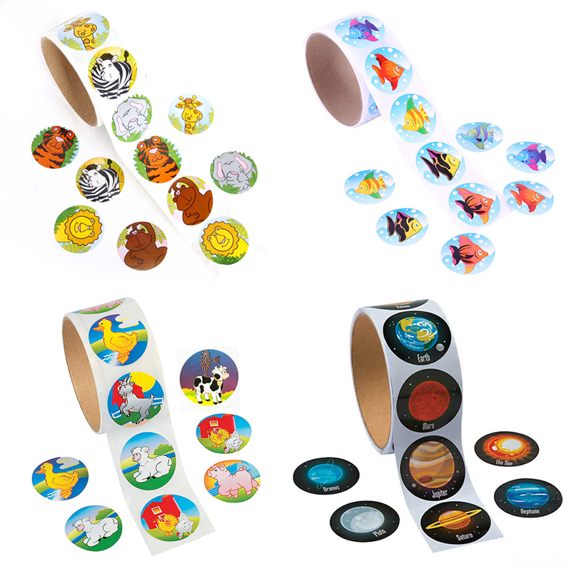 100pcs/roll Jungle Animals Sealing Sticker Diy Gifts Posted Baking Decoration Package Adhesive Seal Label Kids Favors Supply