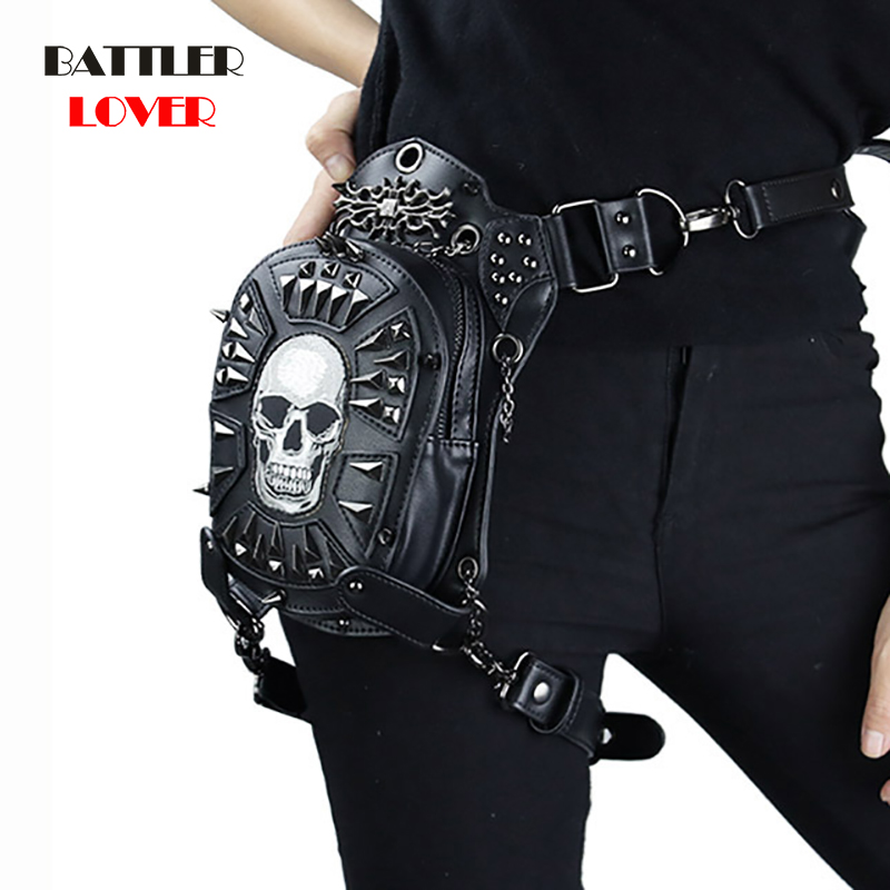 PU Leather Women Waist Bag Rivets Skull Crossbody Shoulder Bag Motorcycle Drop Leg Belt Bags Punk Rock Message Bag Hip Pouch Men