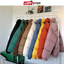 LAPPSTER Puffer Jacket Parka Bubble-Coat Streetwear Male Black Colorful Korean Mens Hip-Hop