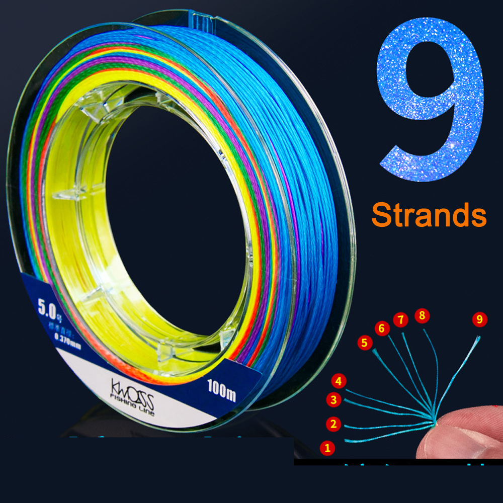 Fishing-Line Weave Braided Multifilament Germany-Material Carp 9-Strands X9 100M PE title=