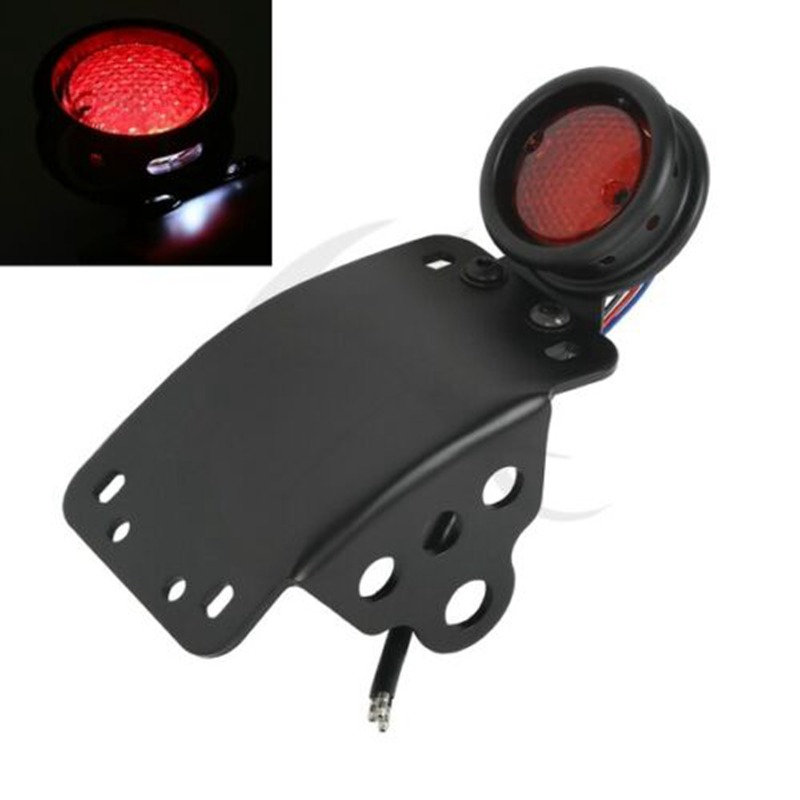 Tail-Brake-Light-Bracket Chopper License-Plate Cafe Racer Harley Bobber Motorcycle Black title=